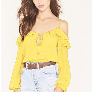 Forever 21 Ruffle Cold-Shoulder Crop Top